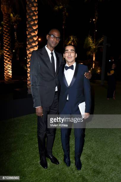 Honoree Mark Bradford wearing Gucci and Allan DiCastro attend the 2017 LACMA Art Film Gala Honoring Mark Bradford and George Lucas presented by Gucci...