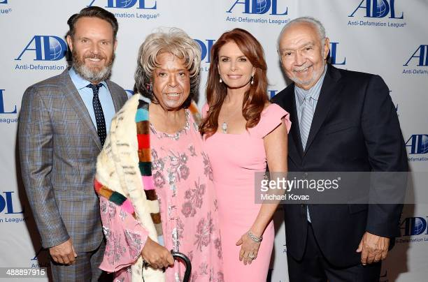 Honoree Mark Burnett actress Della Reese honoree Roma Downey and Franklin Lett arrive at the AntiDefamation League Entertainment Industry Dinner at...