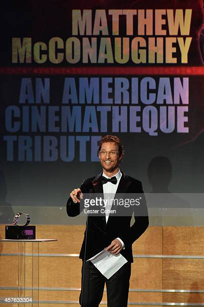 Honoree Matthew McConaughey accepts the American Cinematheque Award onstage at the 28th American Cinematheque Award honoring Matthew McConaughey at...