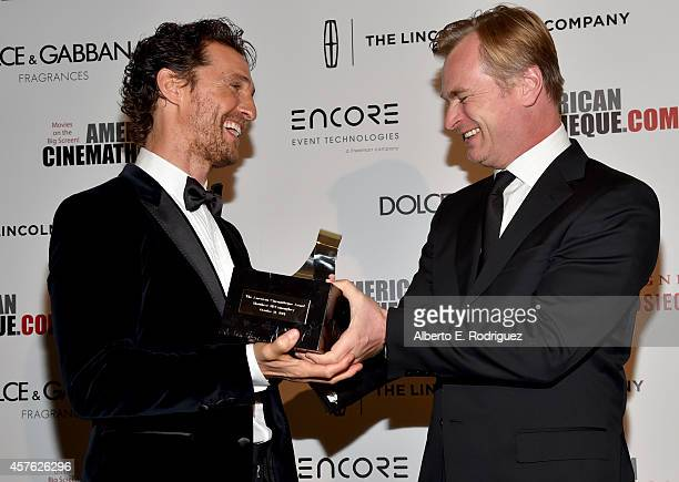 Honoree Matthew McConaughey and director Christopher Nolan attend the 28th American Cinematheque Award honoring Matthew McConaughey at The Beverly...