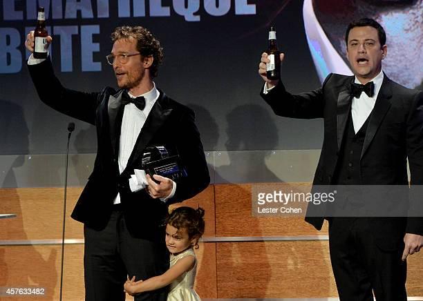 Honoree Matthew McConaughey Vida Alves McConaughey and host Jimmy Kimmel attend the 28th American Cinematheque Award honoring Matthew McConaughey at...