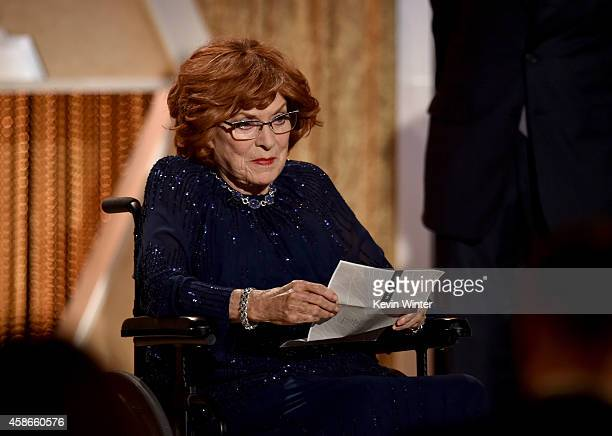Honoree Maureen O'Hara accepts an Honorary Award onstage during the Academy Of Motion Picture Arts And Sciences' 2014 Governors Awards at The Ray...