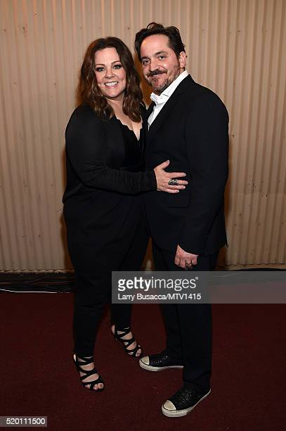 Honoree Melissa McCarthy and actor Ben Falcone attend the 2016 MTV Movie Awards at Warner Bros Studios on April 9 2016 in Burbank California MTV...