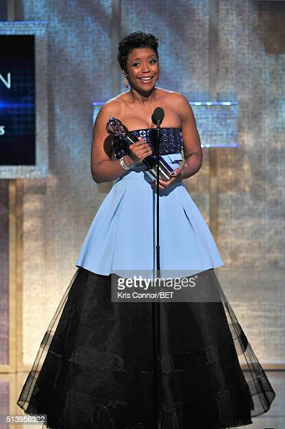 Honoree, Mellody Hobson, accepts her award on stage during the BET Honors 2016 Show at Warner Theatre on March 5, 2016 in Washington, DC.