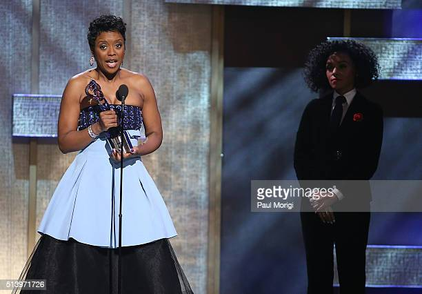 Honoree Mellody Hobson speaks on stage after receiving an award during the BET Honors 2016 Show at Warner Theatre on March 5, 2016 in Washington, DC.