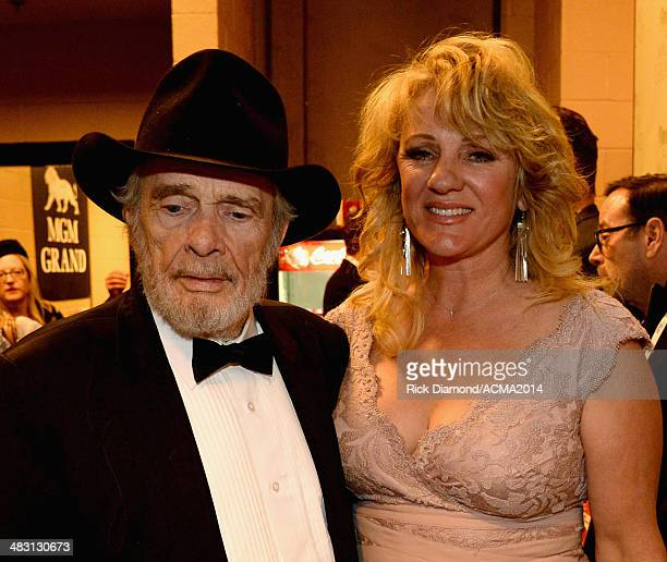 Honoree Merle Haggard and Theresa Ann Lane attend the 49th Annual Academy of Country Music Awards at the MGM Grand Garden Arena on April 6 2014 in...