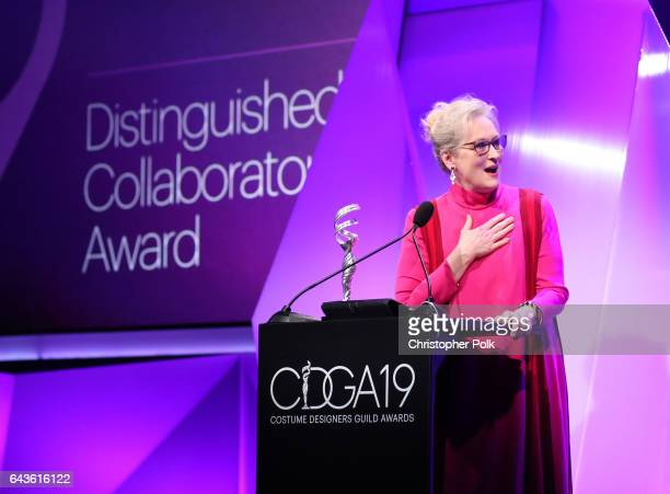 Honoree Meryl Streep accepts the Distinguished Collaborator Award onstage at The 19th CDGA with Presenting Sponsor LACOSTE at The Beverly Hilton...