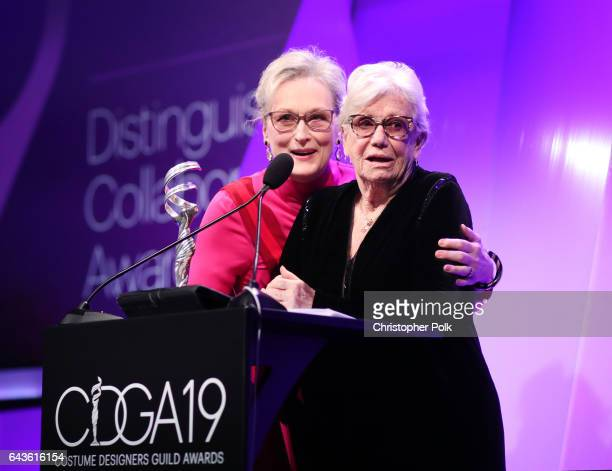 Honoree Meryl Streep accepts the Distinguished Collaborator Award from costume designer Ann Roth onstage at The 19th CDGA with Presenting Sponsor...