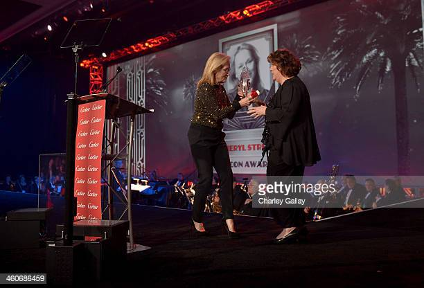 Honoree Meryl Streep accepts the Icon Award from actress Margo Martindale onstage during the 25th annual Palm Springs International Film Festival...