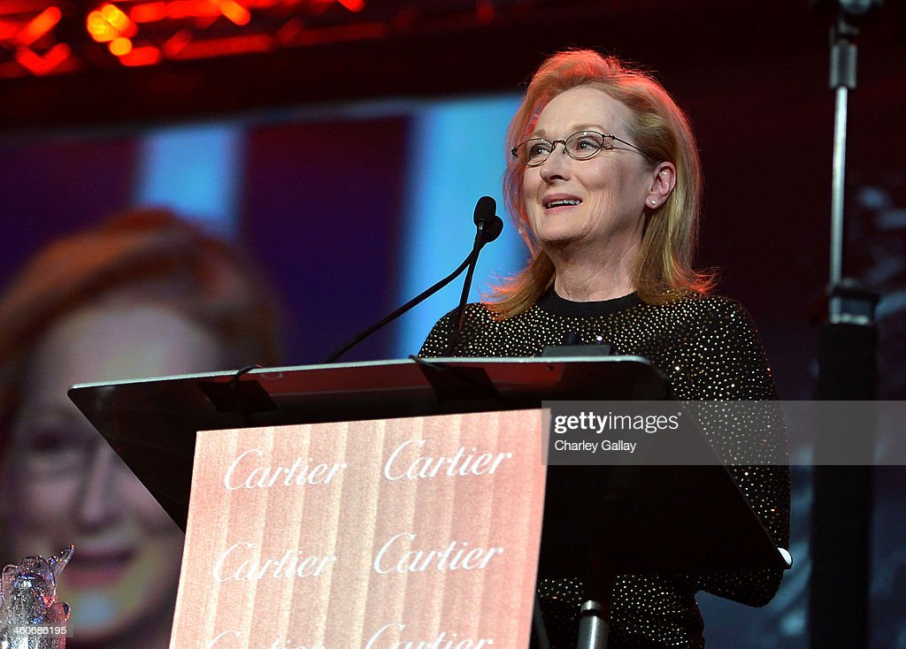 Honoree Meryl Streep accepts the Icon Award onstage during the 25th annual Palm Springs International Film Festival awards gala at Palm Springs Convention Center on January 4, 2014 in Palm Springs, California.