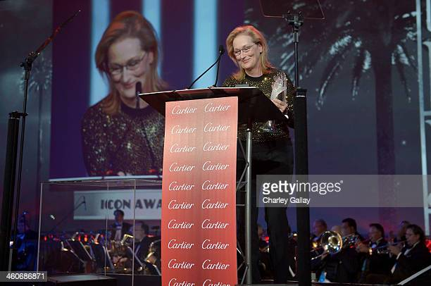 Honoree Meryl Streep accepts the Icon Award onstage during the 25th annual Palm Springs International Film Festival awards gala at Palm Springs...