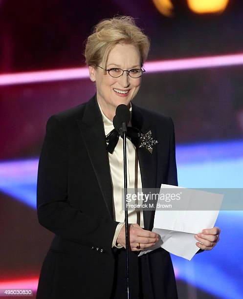 Honoree Meryl Streep accepts the Stanley Kubrick Britannia Award For Excellence In Film onstage during the 2015 Jaguar Land Rover British Academy...