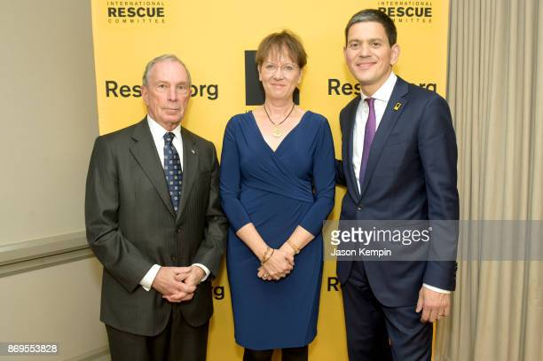 Honoree Michael Bloomberg Louise Shackelton and IRC President CEO David Miliband attend The 2017 Rescue Dinner hosted by IRC at New York Hilton...