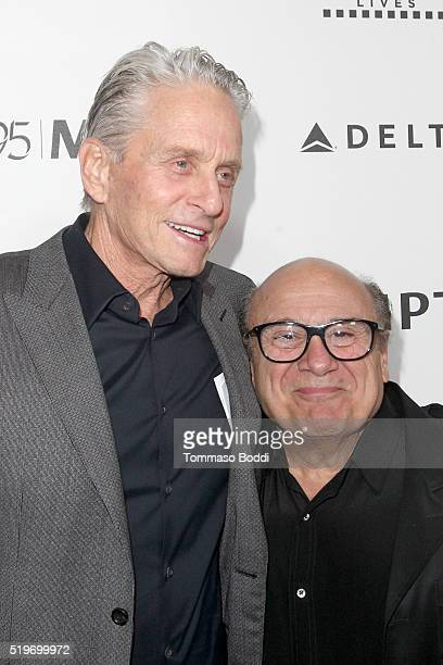 Honoree Michael Douglas and actor Danny DeVito attends the 5th Annual Reel Stories Real Lives event benefiting MPTF at Milk Studios on April 7 2016...