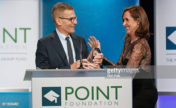 Honoree Michael Lombardo and actress Molly Shannon onstage at Point Foundation's Point Honors gala at The Beverly Hilton Hotel on October 1 2016 in...