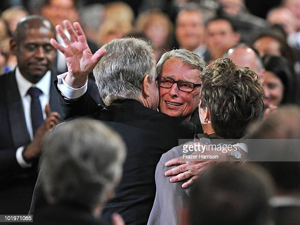 Honoree Mike Nichols actor Warren Beatty and actress Annette Bening in the audience during the 38th AFI Life Achievement Award honoring Mike Nichols...