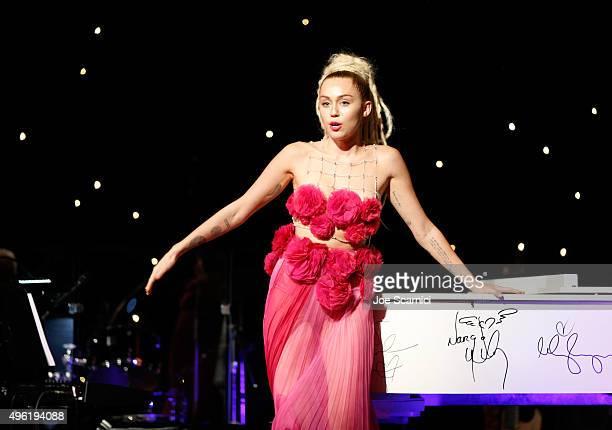 Honoree Miley Cyrus accepts Vanguard Award at the Los Angeles LGBT Center 46th Anniversary Gala Vanguard Awards at the Hyatt Regency Century Plaza on...