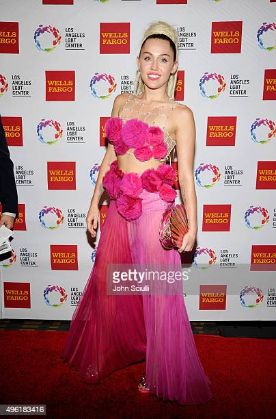 Honoree Miley Cyrus arrives at the Los Angeles LGBT Center 46th Anniversary Gala Vanguard Awards at the Hyatt Regency Century Plaza on November 7...