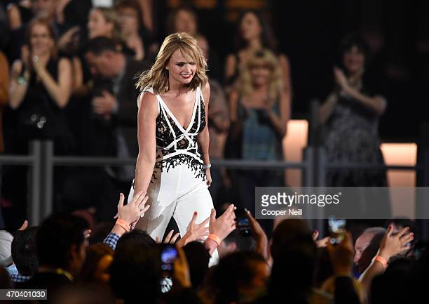 Honoree Miranda Lambert accepts the award for Album of the Year for 'Platinum' during the 50th Academy Of Country Music Awards at ATT Stadium on...