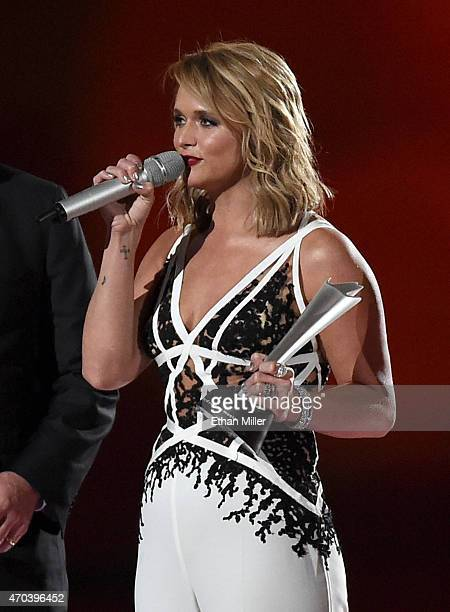Honoree Miranda Lambert accepts the award for Album of the Year onstage during the 50th Academy of Country Music Awards at ATT Stadium on April 19...