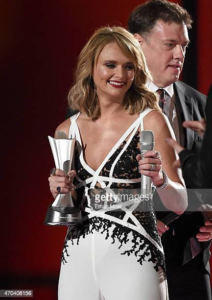 Honoree Miranda Lambert and record producer Frank Liddell accept the award for Album of the Year for Platinum onstage during the 50th Academy of...