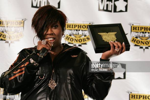 Honoree Missy Elliott poses in the press room with her award at the 4th Annual VH1 Hip Hop Honors ceremony at the Hammerstein Ballroom on October 4...