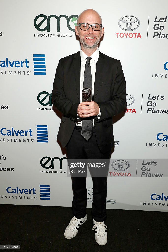 Honoree Moby poses with award during the Environmental Media Association 26th Annual EMA Awards Presented By Toyota, Lexus And Calvert at Warner Bros. Studios on October 22, 2016 in Burbank, California.