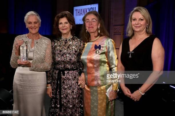 Honoree Monika Heimbold Her Magesty Queen Silvia of Sweden Honoree Gunilla von Arbin and Joanna Rubinstein attend the World Childhood Foundation USA...