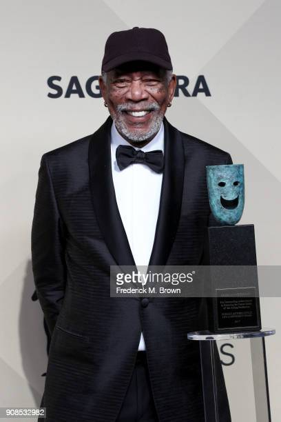 Honoree Morgan Freeman 54th Annual SAG Life Achievement Award recipient poses in the press room during the 24th Annual Screen Actors Guild Awards at...