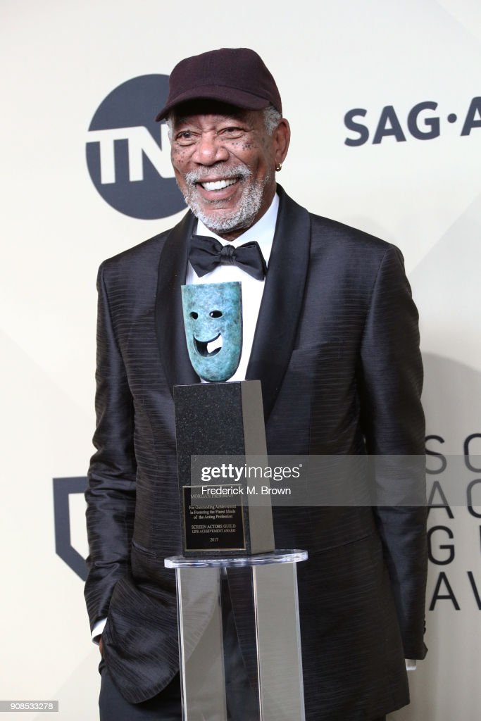 Honoree Morgan Freeman, 54th Annual SAG Life Achievement Award recipient, poses in the press room during the 24th Annual Screen Actors Guild Awards at The Shrine Auditorium on January 21, 2018 in Los Angeles, California. 27522_017
