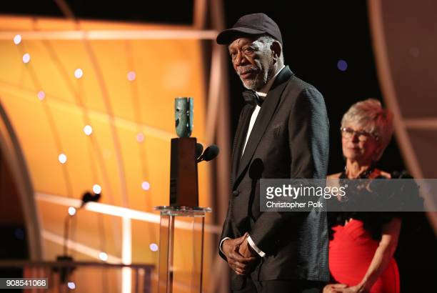 Honoree Morgan Freeman accepts the Life Achievement Award from actor Rita Moreno onstage during the 24th Annual Screen Actors Guild Awards at The...