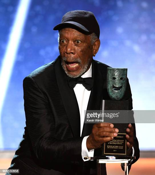 Honoree Morgan Freeman accepts the Life Achievement Award onstage during the 24th Annual Screen Actors Guild Awards at The Shrine Auditorium on...