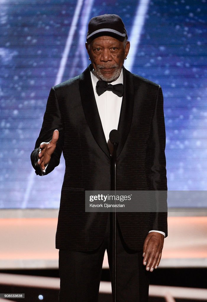 Honoree Morgan Freeman onstage during the 24th Annual Screen ActorsGuild Awards at The Shrine Auditorium on January 21, 2018 in Los Angeles, California.