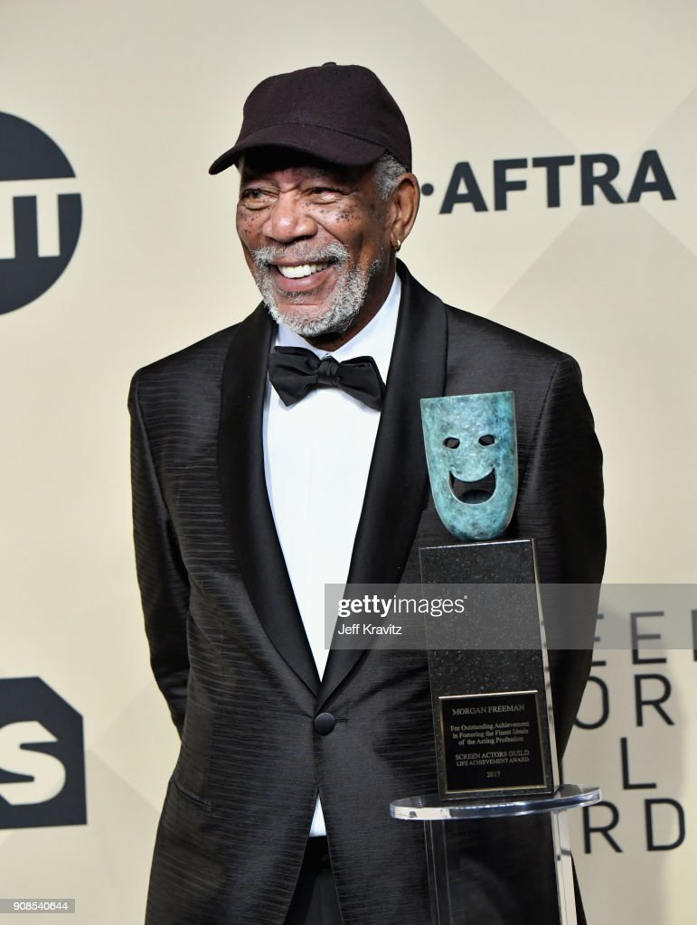 Honoree Morgan Freeman poses in the press room during the 24th Annual Screen ActorsGuild Awards at The Shrine Auditorium on January 21, 2018 in Los Angeles, California.