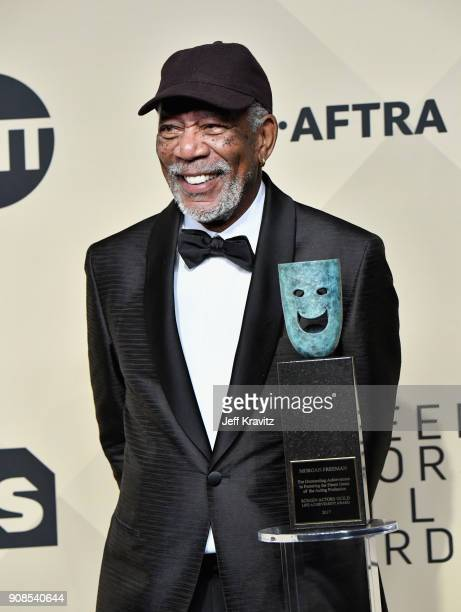 Honoree Morgan Freeman poses in the press room during the 24th Annual Screen ActorsGuild Awards at The Shrine Auditorium on January 21, 2018 in Los...