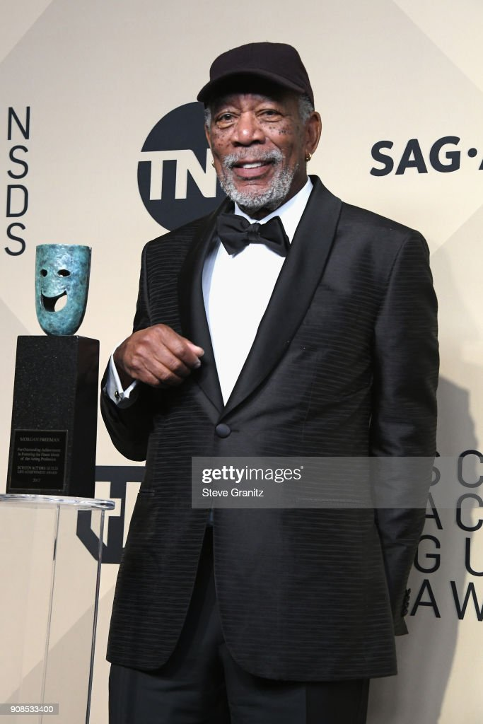 Honoree Morgan Freeman, recipient of the Life Achievement Award, poses in the press room during the 24th Annual Screen ActorsGuild Awards at The Shrine Auditorium on January 21, 2018 in Los Angeles, California.