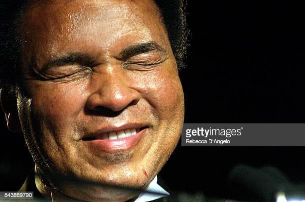 Honoree Muhammad Ali accepts his award at the Arab American Kahlil Gribran Spirit of Humanity Awards dinner held at the Omni Shoreham in Washington...
