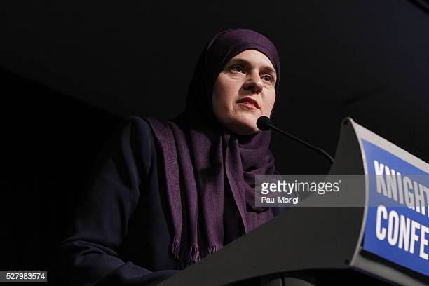 Honoree Nadia Alawa speaks at the James W Foley Freedom Awards at The Newseum on May 3 2016 in Washington DC The James W Foley Legacy Foundation was...