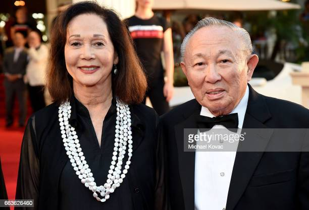 Honoree Nancy Kwan and Dr Lawrence KW Tseu arrive at the 8th Annual Hawaii European Cinema Film Festival Gala at Moana Surfrider on March 31 2017 in...