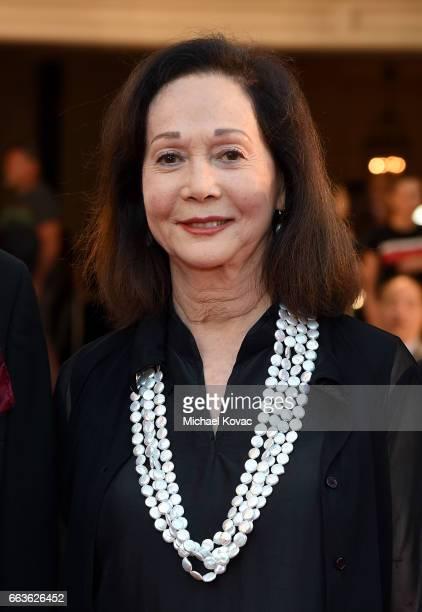 Honoree Nancy Kwan arrives at the 8th Annual Hawaii European Cinema Film Festival Gala at Moana Surfrider on March 31 2017 in Honolulu Hawaii