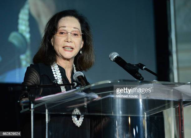 Honoree Nancy Kwan presents onstage after receiving The Dr Lawrence KW Tseu Lifetime Achievement Award at the 8th Annual Hawaii European Cinema Film...