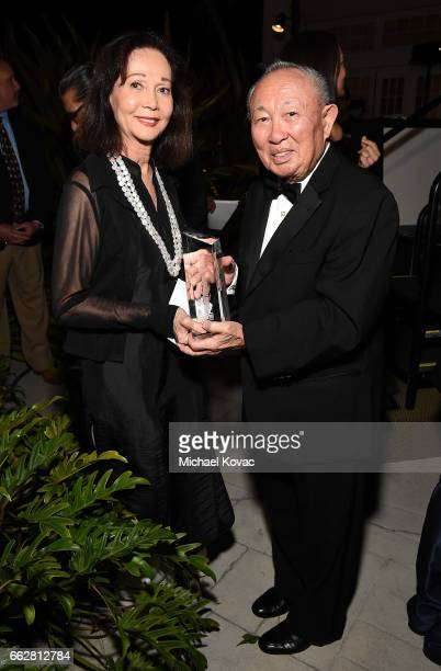 Honoree Nancy Kwan receives The Dr Lawrence KW Tseu Lifetime Achievement Award from Lawrence KW Tseu at the 8th Annual Hawaii European Cinema Film...