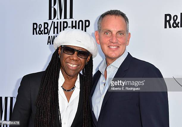Honoree Nile Rodgers and BMI President CEO Mike O'Neill attend the 2015 BMI RB/Hip Hop Awards at Saban Theatre on August 28 2015 in Beverly Hills...