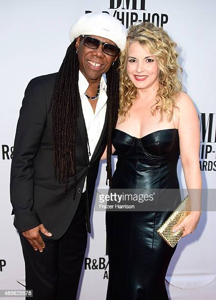 Honoree Nile Rodgers and Nancy Hunt attend the 2015 BMI RB/HipHop Awards at Saban Theatre on August 28 2015 in Beverly Hills California