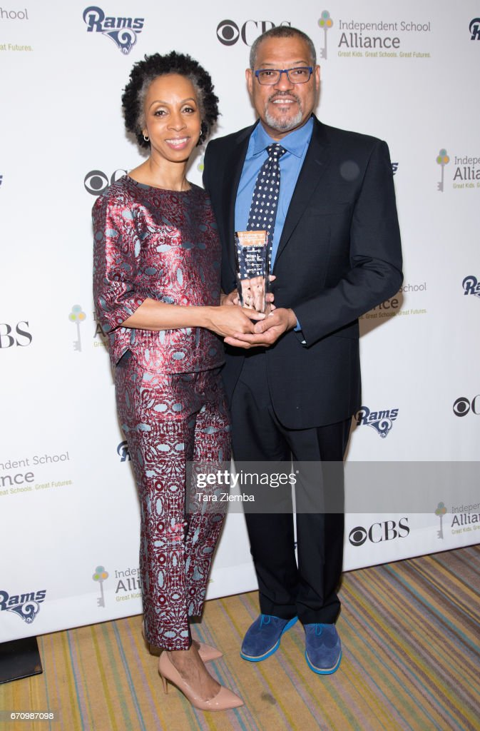 Honoree Nina Shaw and actor Laurence Fishburne attend the Independent School Alliance Impact Awards at the Beverly Wilshire Four Seasons Hotel on April 20, 2017 in Beverly Hills, California.