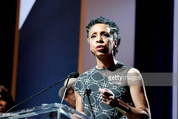 Honoree Nina Shaw speaks on stage at the 2016 ESSENCE Black Women In Hollywood awards luncheon at the Beverly Wilshire Four Seasons Hotel on February...