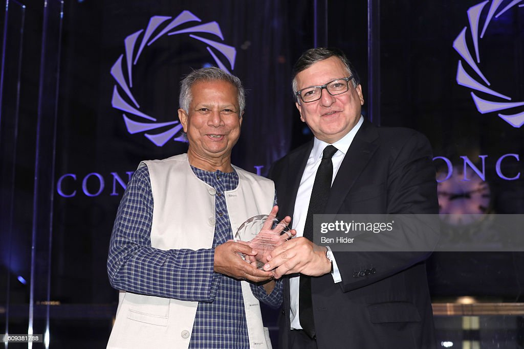 Honoree, Nobel Peace Laureate Professor, Founder of Grameen Bank, Co-Founder and Chairman Yunus Social Business Muhammad Yunus receives the 2016 Concordia Leadership Award from Former European Commission President and former Prime Minister of Portugal Jose Manuel Barroso during 2016 Concordia Summit Awards Dinner at Grand Hyatt New York on September 20, 2016 in New York City.