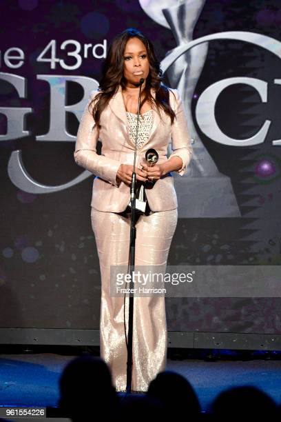 Honoree Pam Oliver speaks onstage at the 43rd Annual Gracie Awards at the Beverly Wilshire Four Seasons Hotel on May 22 2018 in Beverly Hills...