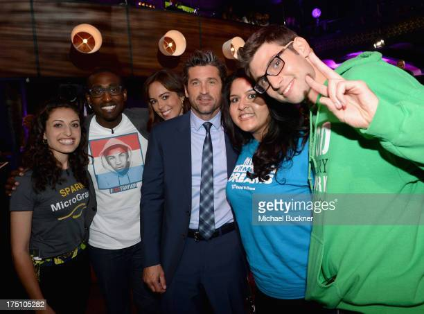 Honoree Patrick Dempsey poses with Founder of Spark MicroGrants Sasha Fisher Daniel Maree of Millions of Hoodies Movement for Justice Jillian...