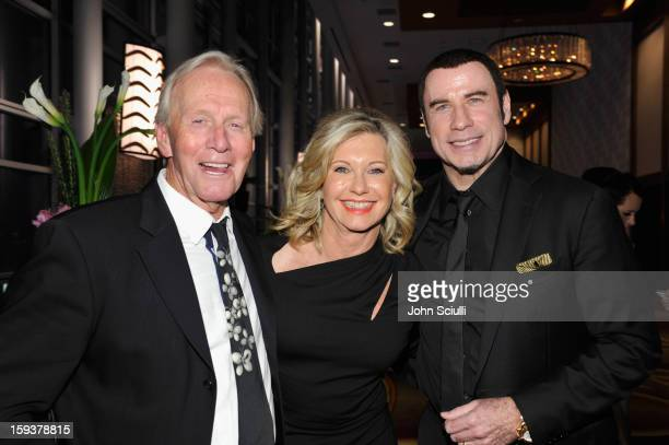 Honoree Paul Hogan presenter Olivia NewtonJohn and honoree John Travolta attend the 2013 G'Day USA Los Angeles Black Tie Gala at JW Marriott Los...